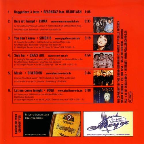"Various Artists - Baggerlove Compilation 3 ""Herz ist Trumpf"" (Rückseite)"