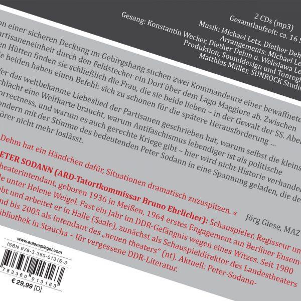 Peter Sodann liest Bella Ciao von Diether Dehm (Rückseite)